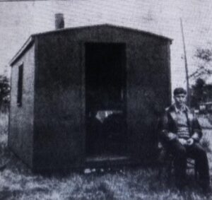 Small hut Gordon Smith, from Royalton and his father built on Geroge Lawe's property.  Gordon lived in the hut while attending Outagamie Teachers College in order to save money on housing which was the largest expense.