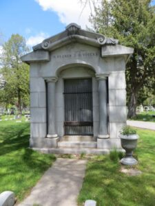 Mausoleum Lindauer had built and sold to H. Hegner and Herman Voecks. If you visit Riverside Cemetery in Apppleton the mausoleum is on a corner lot in the older section and Hegner and Voecks names appear on the mausoleum. (I took the photo)