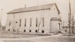 Annex or casino building at the corner of Main Avenue and Ninth St. The building was used as a public grade school before Nicolet School was constructed and housed the first Outagamie County Teachers College.