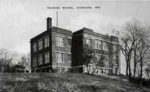 The Outagamie County Teachers College about 1917. Located on Wisconsin Avenue on the hill across from the Canal Place.