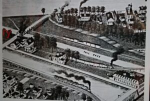 1886 map which shows Kline Mill no. 62. Later Brokaw Paper Mill (61) built on one side and a foundry and machine shop (63) on the other side. Badger Mill (60) built first and Kline Mill was the second building on the canal. The land was located across the street from the Carnegie Library. The land has changed over time as the canal was rerouted several times.